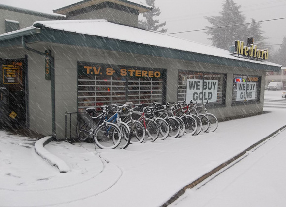 Medford Pawn and Jewelry store on a snowy day